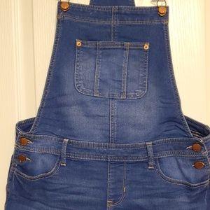 Denim blue overall shorts